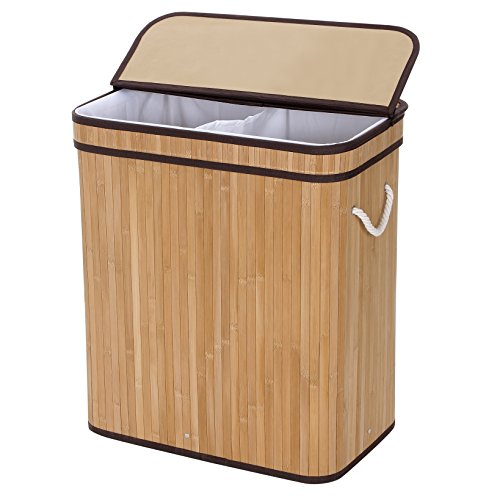 SONGMICS-Bamboo-Laundry-Basket-Double-Hamper-Two-section-Clothes-Storage-Rectangular-Natural-ULCB64Y-0