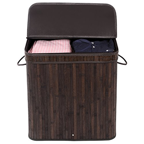 SONGMICS-Bamboo-Laundry-Basket-Double-Hamper-with-Lid-Two-section-Clothes-Storage-Rectangular-Dark-Brown-ULCB64B-0-0