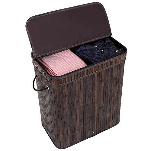 SONGMICS-Bamboo-Laundry-Basket-Double-Hamper-with-Lid-Two-section-Clothes-Storage-Rectangular-Dark-Brown-ULCB64B-0-1