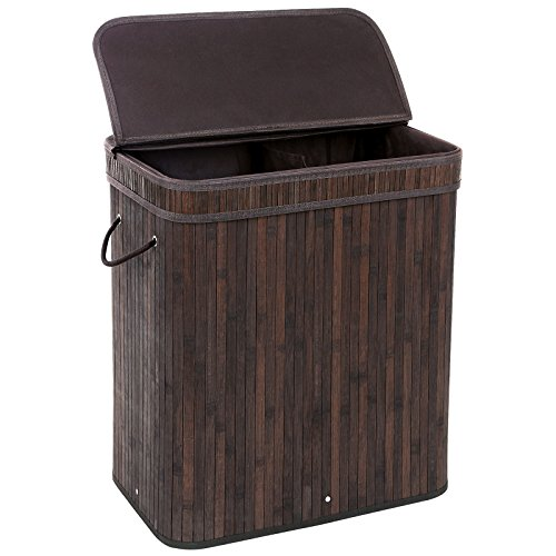 SONGMICS-Bamboo-Laundry-Basket-Double-Hamper-with-Lid-Two-section-Clothes-Storage-Rectangular-Dark-Brown-ULCB64B-0