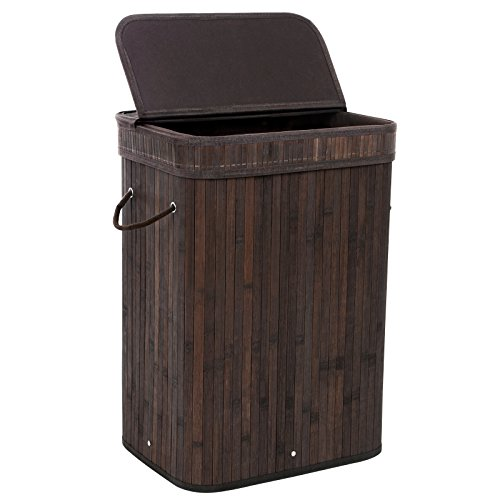 SONGMICS-Bamboo-Laundry-Basket-Folding-Hamper-with-Lid-and-Liner-Laundry-Storage-Rectangular-Dark-Brown-ULCB10B-0