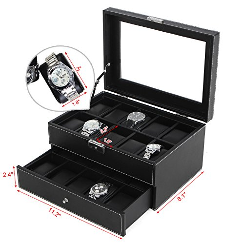 SONGMICS-Black-Leather-20-Watch-Box-Lockable-Jewelry-Display-Case-Organizer-with-Glass-Top-Drawer-UJWB301-0-1