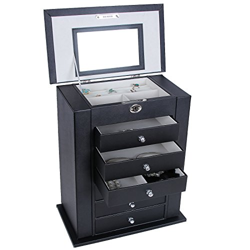 SONGMICS-Black-Leather-Jewelry-Box-Large-Cabinet-Storage-Case-Organizer-with-Lock-Mirror-UJBC06B-0-0