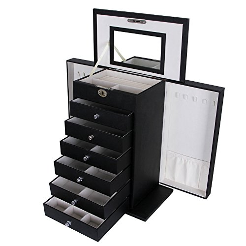 SONGMICS-Black-Leather-Jewelry-Box-Large-Cabinet-Storage-Case-Organizer-with-Lock-Mirror-UJBC06B-0
