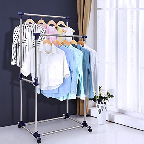 SONGMICS-Double-Rod-Adjustable-Rolling-Clothes-and-Garment-Rack-W-Brake-Wheels-ULLR03B-0-0