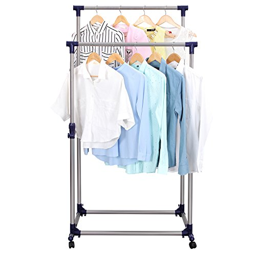 SONGMICS-Double-Rod-Adjustable-Rolling-Clothes-and-Garment-Rack-W-Brake-Wheels-ULLR03B-0-1