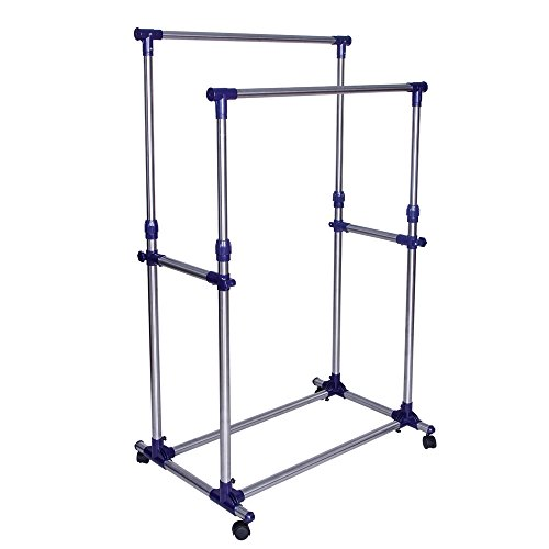 SONGMICS-Double-Rod-Adjustable-Rolling-Clothes-and-Garment-Rack-W-Brake-Wheels-ULLR03B-0
