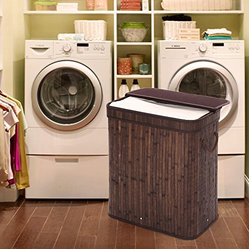 SONGMICS-Folding-Laundry-Basket-With-Lid-Bamboo-Hampers-Dirty-Clothes-Storage-Rectangular-Dark-Brown-ULCB63B-0-0