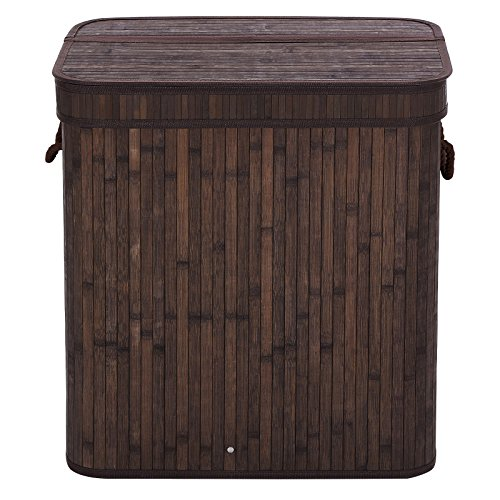 SONGMICS-Folding-Laundry-Basket-With-Lid-Bamboo-Hampers-Dirty-Clothes-Storage-Rectangular-Dark-Brown-ULCB63B-0