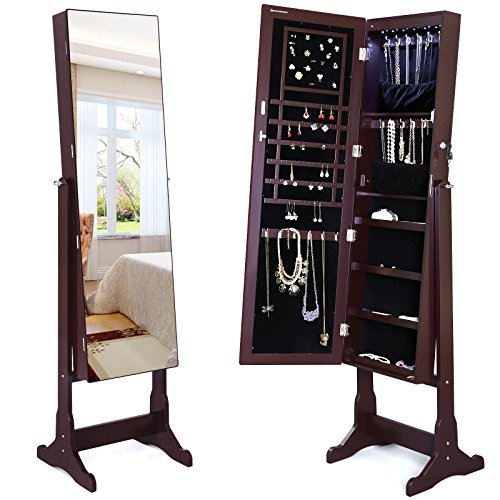 SONGMICS-Lockable-Jewelry-Cabinet-Standing-Jewelry-Armoire-with-LED-Light-Full-Length-Cheval-Mirror-0-0