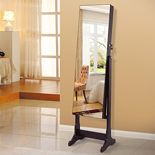 SONGMICS-Lockable-Jewelry-Cabinet-Standing-Jewelry-Armoire-with-LED-Light-Full-Length-Cheval-Mirror-0-1