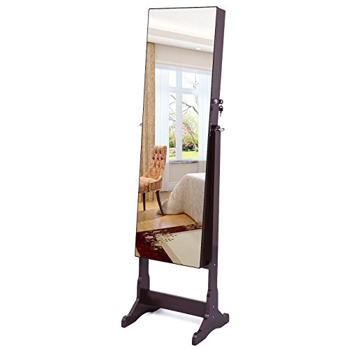 SONGMICS-Lockable-Jewelry-Cabinet-Standing-Jewelry-Armoire-with-LED-Light-Full-Length-Cheval-Mirror-0