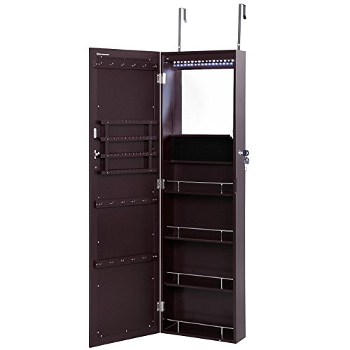 SONGMICS-Lockable-Jewelry-Cabinet-Wall-Door-Mounted-Makeup-Armoire-Organizer-with-Mirror-0