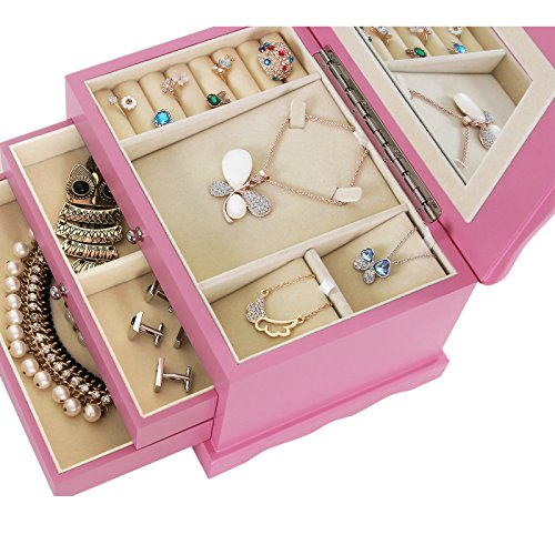 SONGMICS-Pink-Wooden-Jewelry-Box-Girls-Storage-Organizer-Case-w-Drawer-Mirror-UJOW03P-0-0