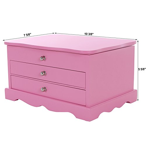 SONGMICS-Pink-Wooden-Jewelry-Box-Girls-Storage-Organizer-Case-w-Drawer-Mirror-UJOW03P-0-1