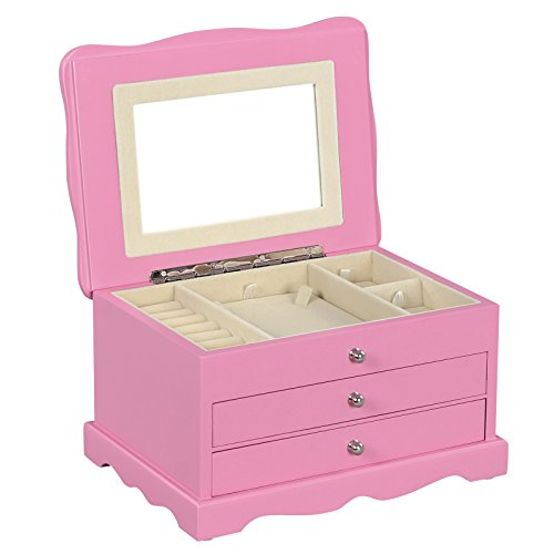 SONGMICS-Pink-Wooden-Jewelry-Box-Girls-Storage-Organizer-Case-w-Drawer-Mirror-UJOW03P-0
