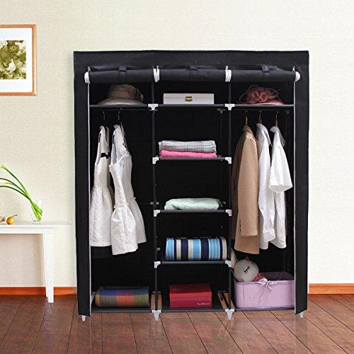SONGMICS-Portable-Clothes-Closet-Non-woven-Fabric-Wardrobe-Double-Rod-Storage-Organizer-Black-59-Inch-URYG12H-0-0