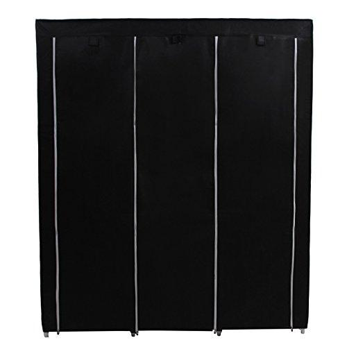 SONGMICS-Portable-Clothes-Closet-Non-woven-Fabric-Wardrobe-Double-Rod-Storage-Organizer-Black-59-Inch-URYG12H-0-1