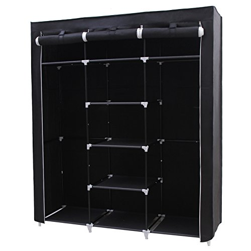 SONGMICS-Portable-Clothes-Closet-Non-woven-Fabric-Wardrobe-Double-Rod-Storage-Organizer-Black-59-Inch-URYG12H-0