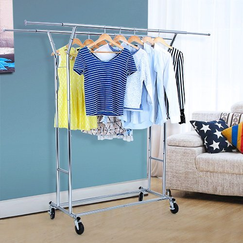 SONGMICS-Rolling-Garment-Rack-Heavy-Duty-Double-Rail-Clothing-Hanging-Rack-on-Lockable-Wheels-Chrome-Finish-ULLR22C-0-0