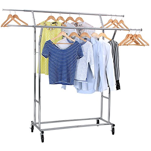 SONGMICS-Rolling-Garment-Rack-Heavy-Duty-Double-Rail-Clothing-Hanging-Rack-on-Lockable-Wheels-Chrome-Finish-ULLR22C-0-1