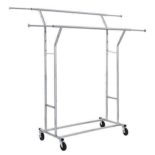 SONGMICS-Rolling-Garment-Rack-Heavy-Duty-Double-Rail-Clothing-Hanging-Rack-on-Lockable-Wheels-Chrome-Finish-ULLR22C-0