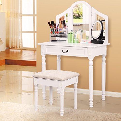SONGMICS-Vanity-Set-w-Stool-Drawer-Make-up-Dressing-Table-3-Mirrors-0-0