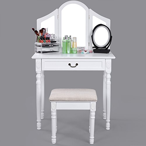 SONGMICS-Vanity-Set-w-Stool-Drawer-Make-up-Dressing-Table-3-Mirrors-0-1