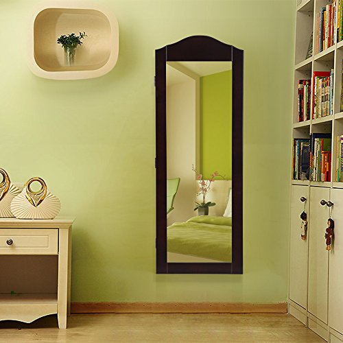 SONGMICS-Wall-Mount-Mirrored-Jewelry-Cabinet-Makeup-Armoire-Storage-Organizer-Real-Glass-Brown-0-0