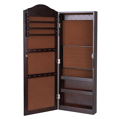 SONGMICS-Wall-Mount-Mirrored-Jewelry-Cabinet-Makeup-Armoire-Storage-Organizer-Real-Glass-Brown-0