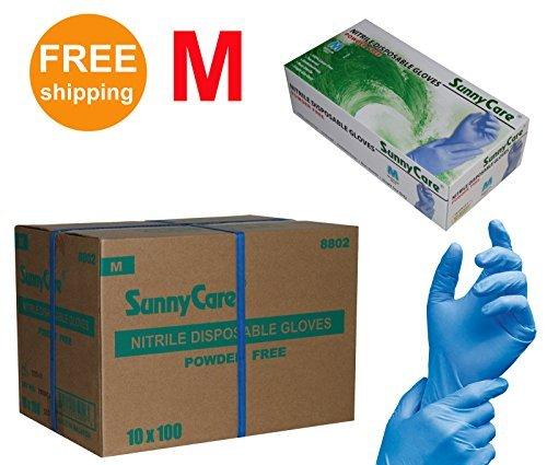 SUNNYCARE-8802-Nitrile-Disposable-Gloves-Powder-Free-Size-Medium-1000pcsCase-100pcsbox10boxescase-0
