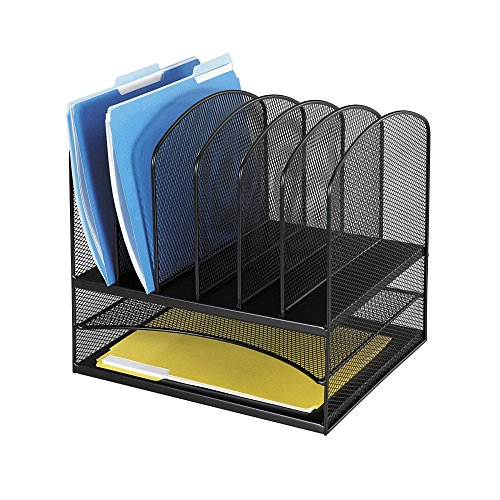 Safco-Products-3255BL-Onyx-Mesh-Desktop-Organizer-with-2-Horizontal6-Upright-Sections-0