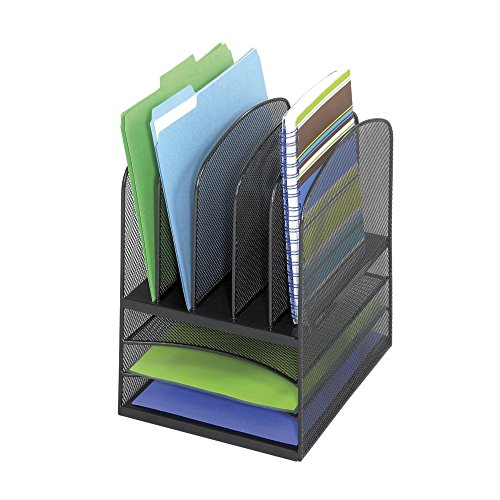 Safco-Products-3266BL-Onyx-Mesh-Desktop-Organizer-with-3-Horizontal5-Upright-Sections-0