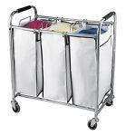 Saganizer-laundry-hamper-with-wheels-rolling-laundry-cart-Heavy-duty-Triple-Laundry-Sorter-Chromewhite-laundry-organizer-0