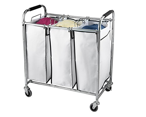 Saganizer-laundry-hamper-with-wheels-rolling-laundry-cart-Heavy-duty-Triple-Laundry-Sorter-Chromewhite-laundry-organizer-0