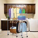 Sandusky-Lee-EZGR4818-RW3-Steel-Garment-Rack-2-Adjustable-Shelves-2-Adjustable-Half-Shelves-3-Garment-Bars-6-Casters-Chrome-Finish-74-Height-x-48-Width-x-18-Depth-0-0