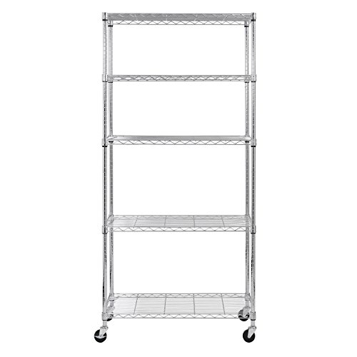 Sandusky-MWS361872-5-Tier-Mobile-Wire-Shelving-Unit-with-3-Rubber-Casters-5-Wire-Shelves-Chrome-72-Height-x-36-Width-x-18-Depth-0-0