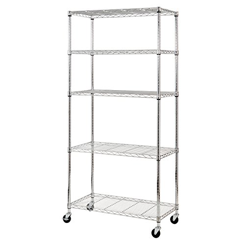 Sandusky-MWS361872-5-Tier-Mobile-Wire-Shelving-Unit-with-3-Rubber-Casters-5-Wire-Shelves-Chrome-72-Height-x-36-Width-x-18-Depth-0