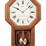 Seiko-Wall-Pendulum-Schoolhouse-Clock-Dark-Brown-Solid-Oak-Case-0