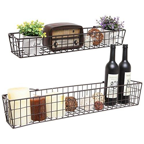 Set-of-2-Country-Rustic-Wall-Mounted-Openwork-Metal-Wire-Storage-Basket-Shelves-Display-Racks-MyGift-0