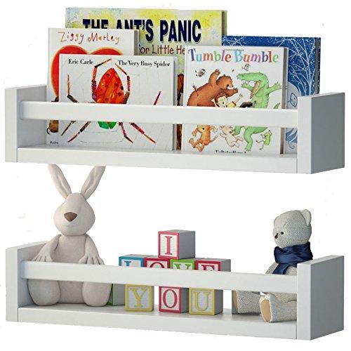 Set-of-2-Nursery-Room-Wall-Shelf-White-Wood-0