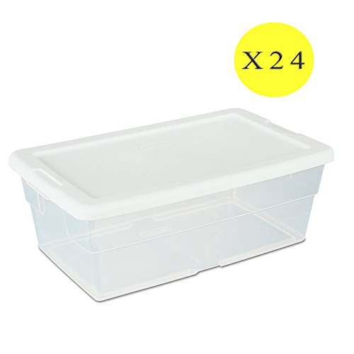 Set-of-24-TrueCraftware-6-Quart-Clear-Storage-Containers-with-White-Lids-0-0