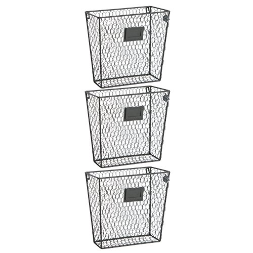 Set-of-3-Wall-Mounted-Rustic-Black-Metal-Wire-Mail-Sorter-Magazine-Rack-w-Erasable-Chalkboard-Labels-0-1