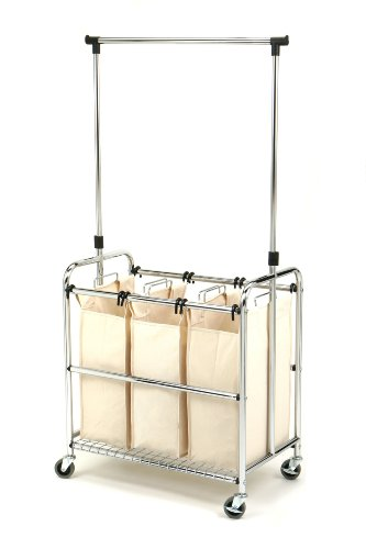 Seville-Classics-SHE16165-3-Bag-Laundry-Sorter-Cart-With-Hanging-Bar-0-1