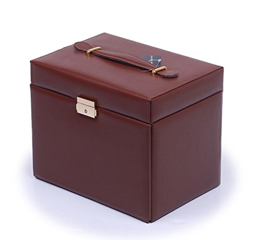 Shining-Image-Brown-LEATHER-JEWELRY-BOX-CASE-STORAGE-ORGANIZER-WITH-TRAVEL-CASE-AND-LOCK-0-0