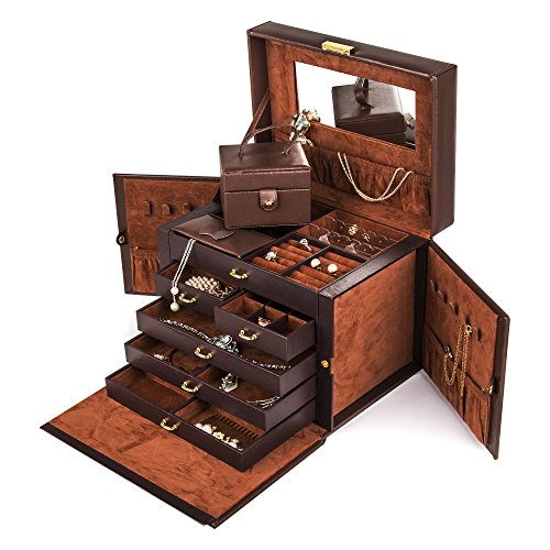 Shining-Image-Brown-LEATHER-JEWELRY-BOX-CASE-STORAGE-ORGANIZER-WITH-TRAVEL-CASE-AND-LOCK-0-1
