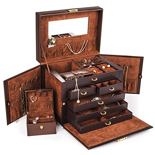 Shining-Image-Brown-LEATHER-JEWELRY-BOX-CASE-STORAGE-ORGANIZER-WITH-TRAVEL-CASE-AND-LOCK-0