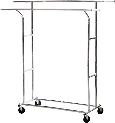 SimpleHouseware-Commercial-Grade-Double-Rail-Clothing-Garment-Rack-with-4-Inch-Casters-Chrome-0-0
