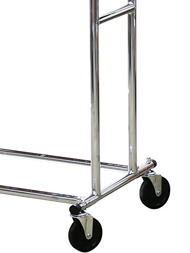 SimpleHouseware-Commercial-Grade-Double-Rail-Clothing-Garment-Rack-with-4-Inch-Casters-Chrome-0-1