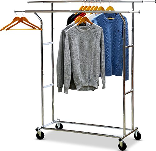 SimpleHouseware-Commercial-Grade-Double-Rail-Clothing-Garment-Rack-with-4-Inch-Casters-Chrome-0